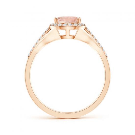 Кольцо с морганитом капля в бриллиантовом ореоле,  Больше Изображение 2