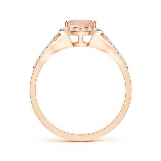 Кольцо с морганитом капля в бриллиантовом ореоле