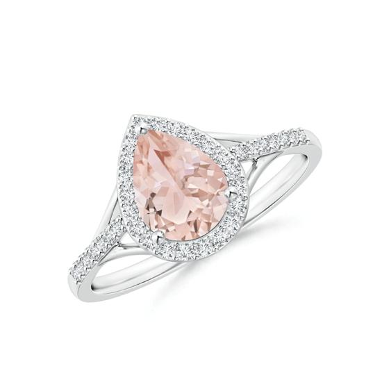 Кольцо с морганитом Груша в бриллиантовом ореоле, Больше Изображение 1