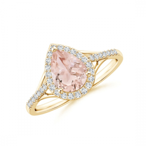Кольцо золотое с морганитом капля в бриллиантовом ореоле