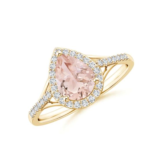Кольцо золотое с морганитом капля в бриллиантовом ореоле, Больше Изображение 1