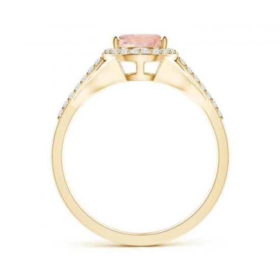 Кольцо золотое с морганитом капля в бриллиантовом ореоле,  Больше Изображение 2