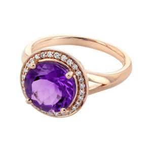 Кольцо с аметистом в ореоле бриллиантов