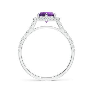 Кольцо с аметистом в ореоле из бриллиантов - Фото 1