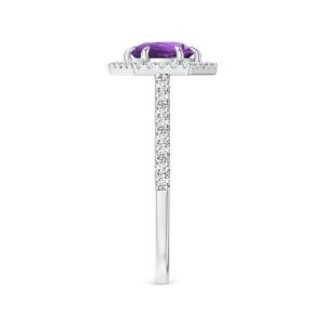 Кольцо с аметистом в ореоле из бриллиантов - Фото 2