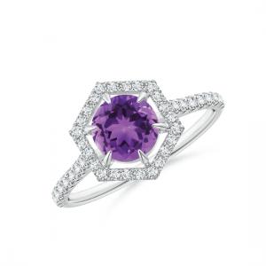 Кольцо с аметистом в ореоле из бриллиантов