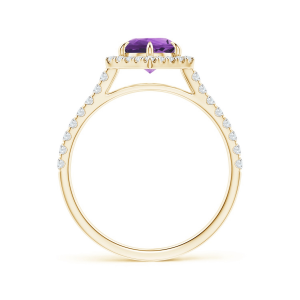 Кольцо золотое с аметистом в ореоле из бриллиантов