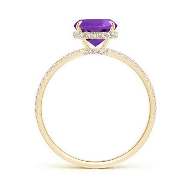 Кольцо с аметистом кушон и паве из бриллиантов - Фото 1