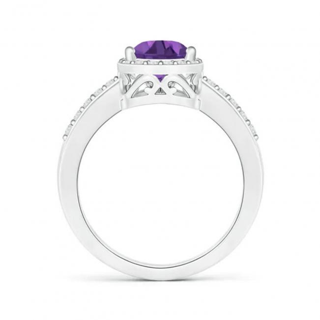 Кольцо с аметистом Груша в бриллиантовом ореоле - Фото 1
