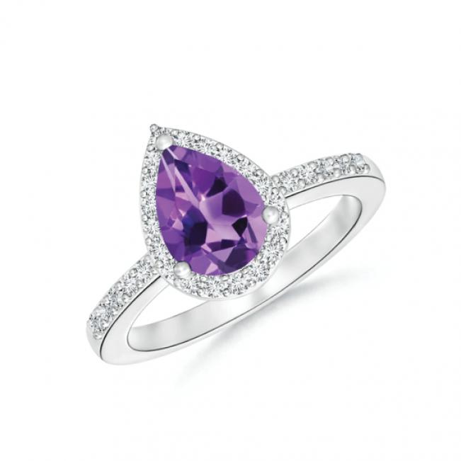 Кольцо с аметистом капля в бриллиантовом ореоле
