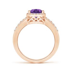 Кольцо с аметистом капля в бриллиантовом ореоле - Фото 1