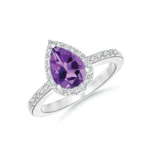 Кольцо с аметистом Груша в бриллиантовом ореоле