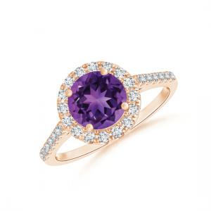 Кольцо с круглым аметистом в бриллиантовом ореоле