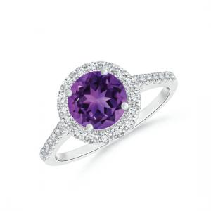 Кольцо с круглым аметистом в бриллиантовом паве