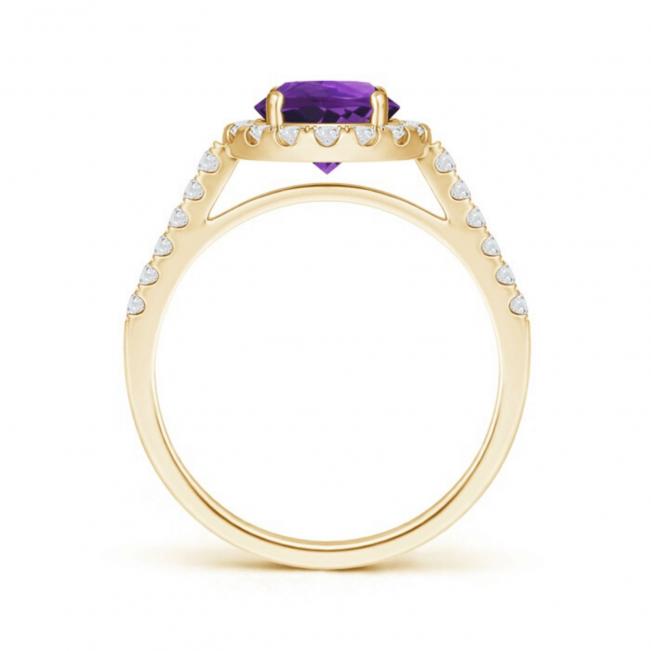 Кольцо золотое с круглым аметистом в бриллиантовом ореоле
