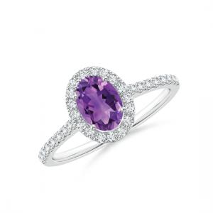 Кольцо с овальным аметистом в бриллиантах