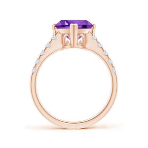 Кольцо с аметистом и дорожкой из бриллиантов