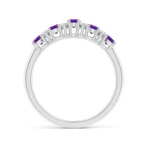 Кольцо дорожка с 5 аметистами и бриллиантами
