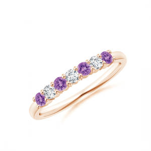 Кольцо дорожка с аметистами и бриллиантами