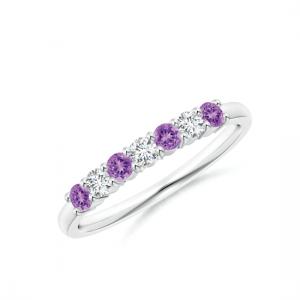 Кольцо дорожка с 4 аметистами и бриллиантами
