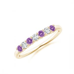 Кольцо дорожка с аметистами и бриллиантами 2,5 мм