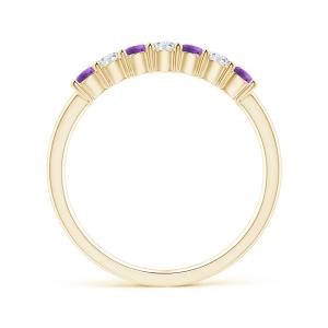Кольцо дорожка с аметистами и бриллиантами 2,5 мм - Фото 1