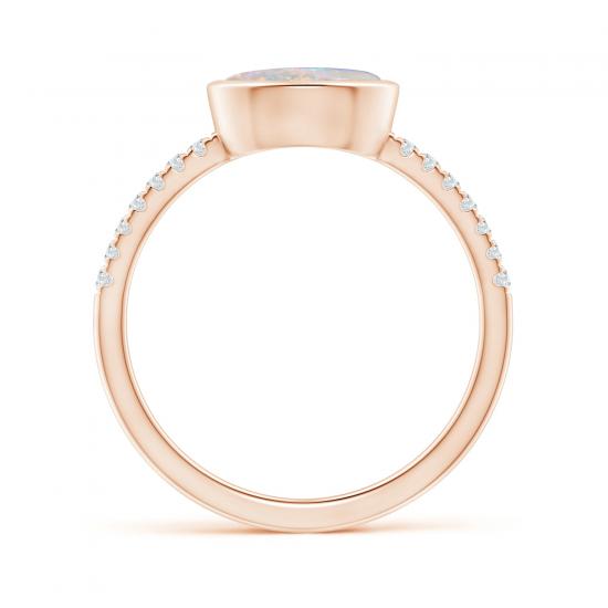Кольцо с овальным опалом и бриллиантовой дорожкой,  Больше Изображение 2