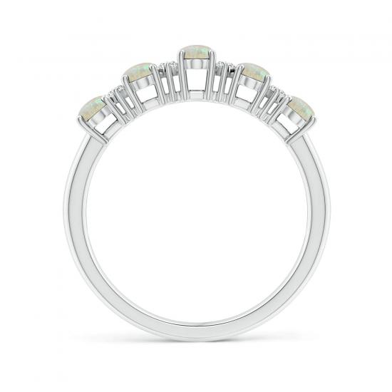 Кольцо дорожка с овальными опалами и бриллиантами,  Больше Изображение 2