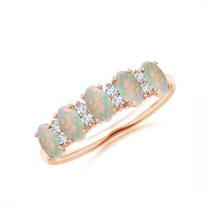Кольцо дорожка с опалами и бриллиантами