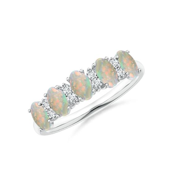 Кольцо дорожка с овальными опалами и бриллиантами, Больше Изображение 1