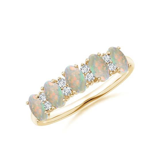 Кольцо золотое дорожка с опалами и бриллиантами, Больше Изображение 1