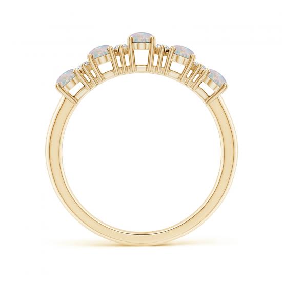 Кольцо золотое дорожка с опалами и бриллиантами,  Больше Изображение 2