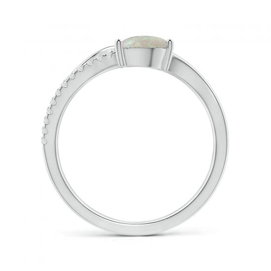 Кольцо с опалом капля и бриллиантами паве,  Больше Изображение 2