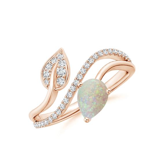 Кольцо с опалом капля и бриллиантами, Больше Изображение 1