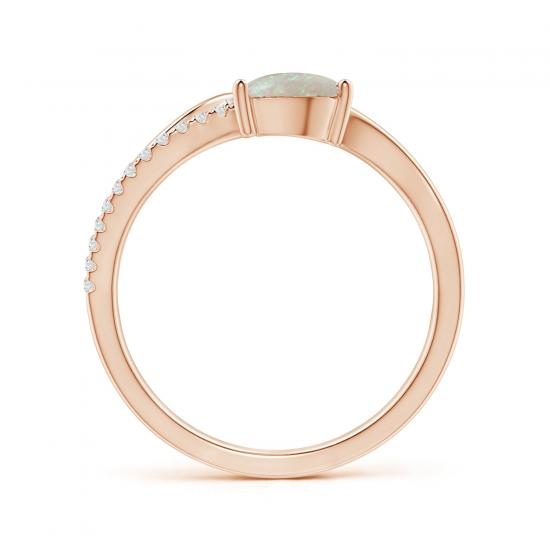 Кольцо с опалом капля и бриллиантами,  Больше Изображение 2