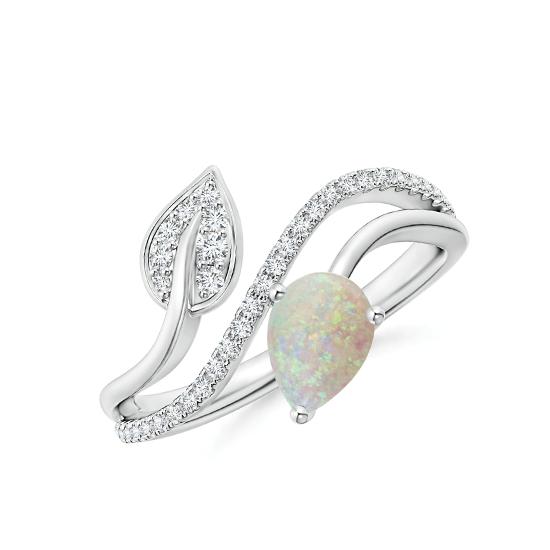 Кольцо с опалом капля и бриллиантами паве, Больше Изображение 1