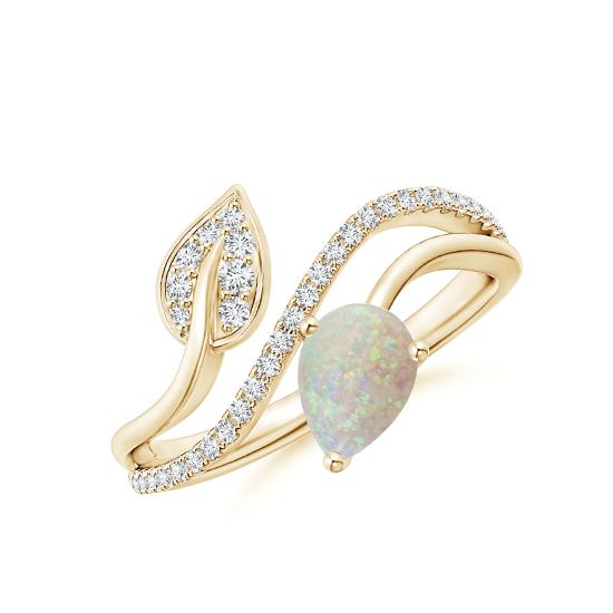 Кольцо золотое с опалом капля и бриллиантами, Больше Изображение 1