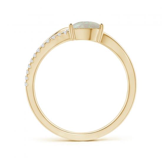 Кольцо золотое с опалом капля и бриллиантами,  Больше Изображение 2