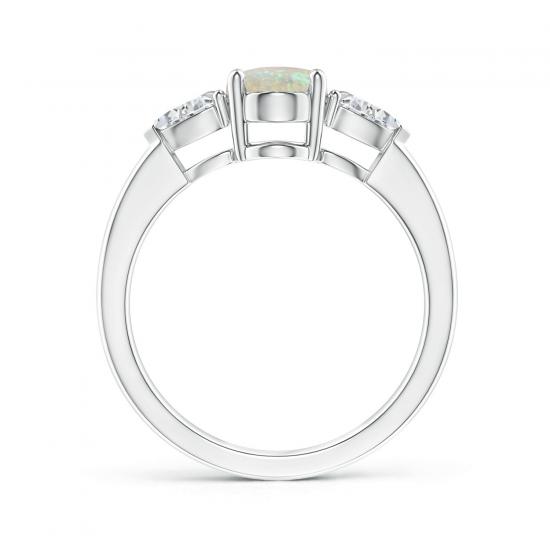 Кольцо с опалом и боковыми бриллиантами,  Больше Изображение 2