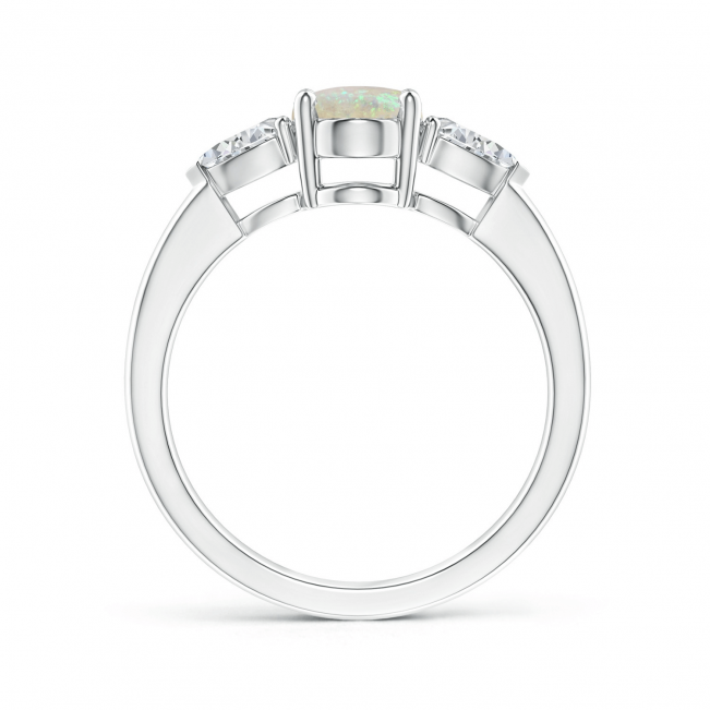 Кольцо с опалом и боковыми бриллиантами - Фото 1