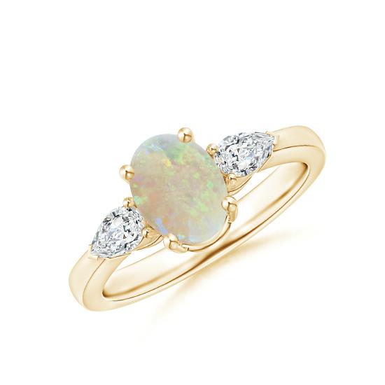 Кольцо с овальным опалом и боковыми бриллиантами, Больше Изображение 1
