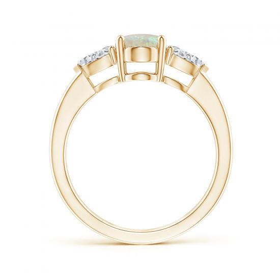 Кольцо с овальным опалом и боковыми бриллиантами,  Больше Изображение 2