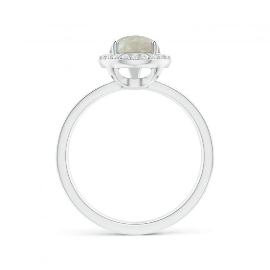 Кольцо с опалом Груша в ореоле из бриллиантов,  Больше Изображение 2