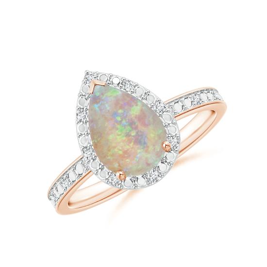 Кольцо с опалом капля в ореоле из бриллиантов, Больше Изображение 1