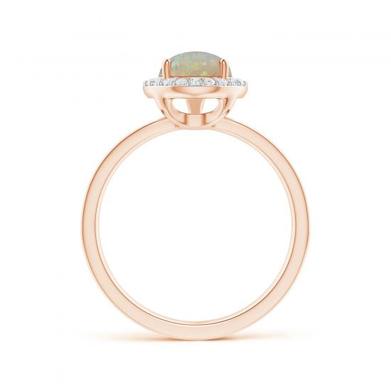 Кольцо с опалом капля в ореоле из бриллиантов,  Больше Изображение 2