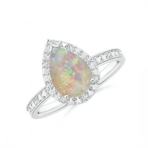Кольцо с опалом Груша в ореоле из бриллиантов
