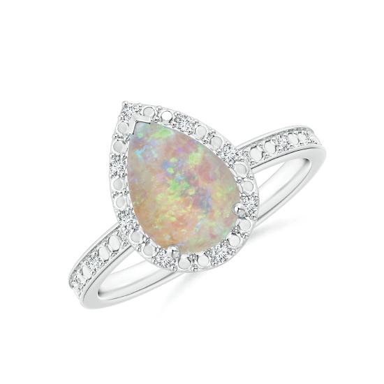Кольцо с опалом Груша в ореоле из бриллиантов, Больше Изображение 1