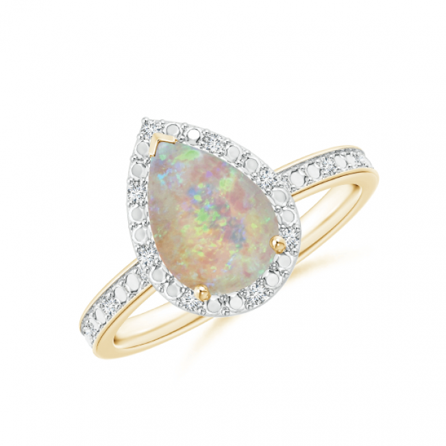Кольцо из золота с опалом капля в ореоле из бриллиантов
