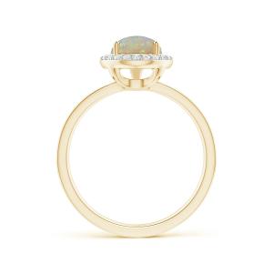 Кольцо с опалом капля в ореоле из бриллиантов