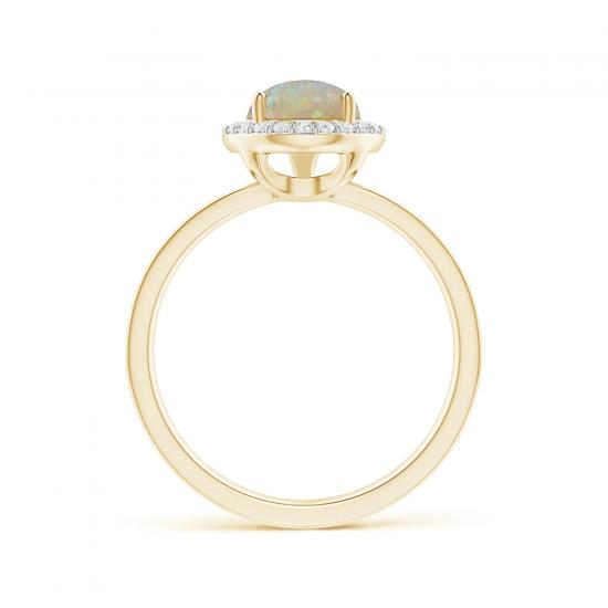 Кольцо из золота с опалом капля в ореоле из бриллиантов,  Больше Изображение 2